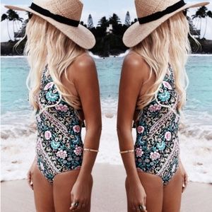 Floral Swimsuit One Piece Pink Blue Black #102
